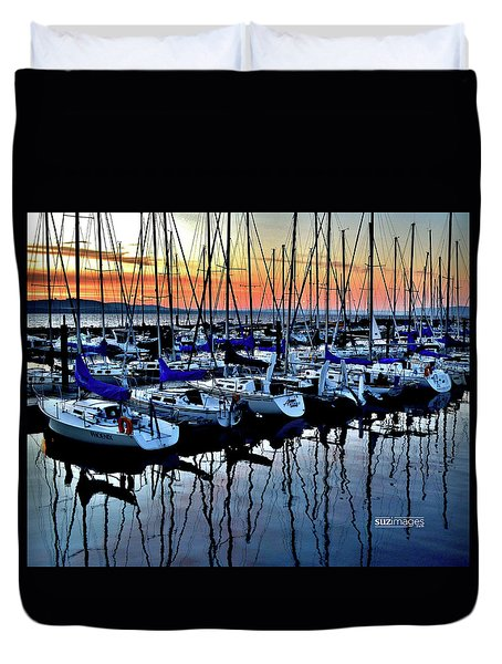 Lake City Marina Duvet Cover
