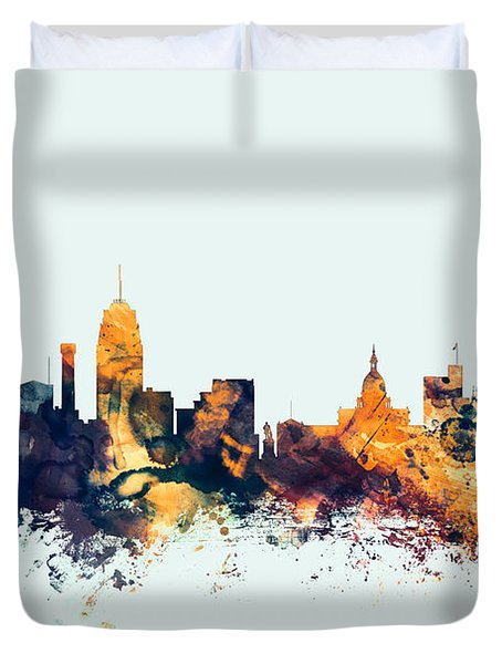 Lansing Michigan Skyline Duvet Cover