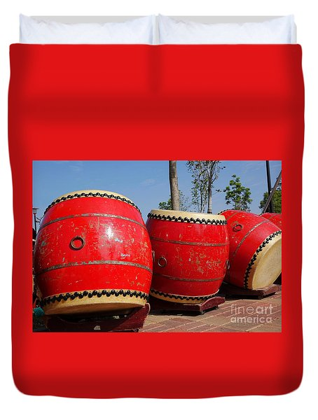 Large Chinese Drums Duvet Cover