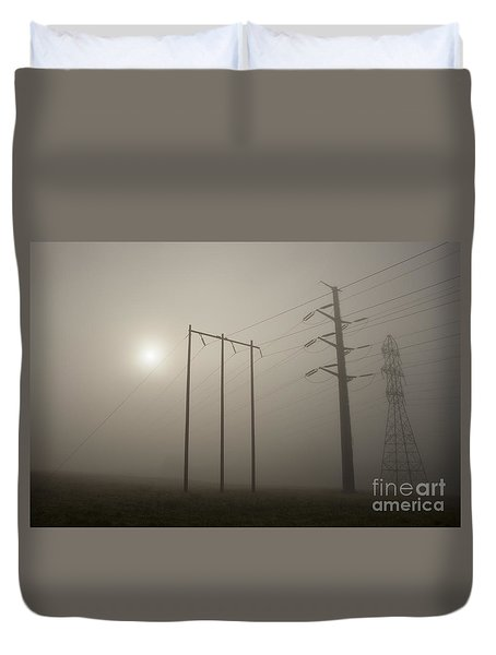 Large Transmission Towers In Fog Duvet Cover