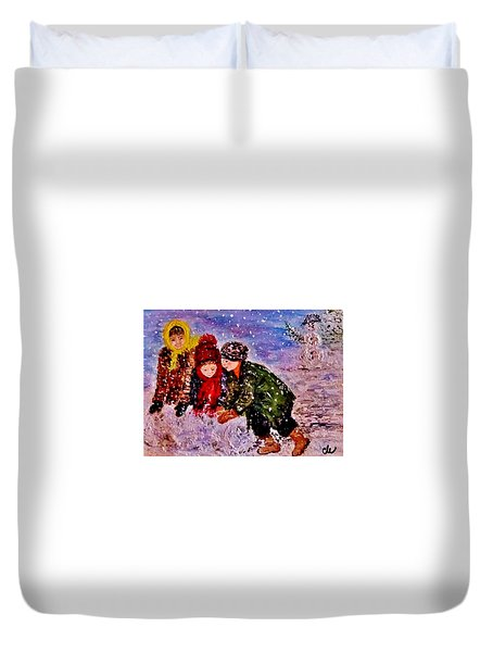 Duvet Cover featuring the painting Let It Snow..let It Snow..  by Cristina Mihailescu