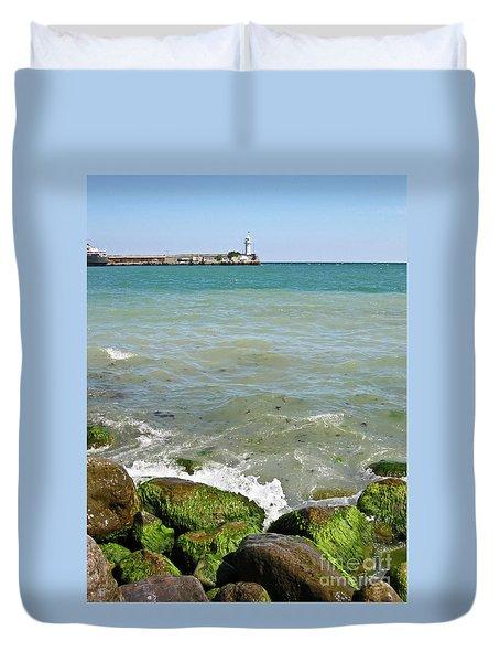 Lighthouse In Sea Duvet Cover