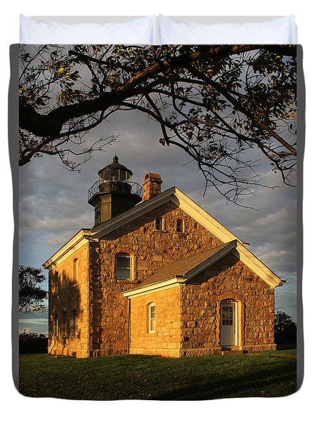 Lighthouse Old Field Point New York Duvet Cover