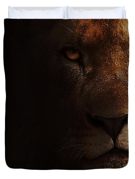 Duvet Cover featuring the photograph Lion by Christine Sponchia