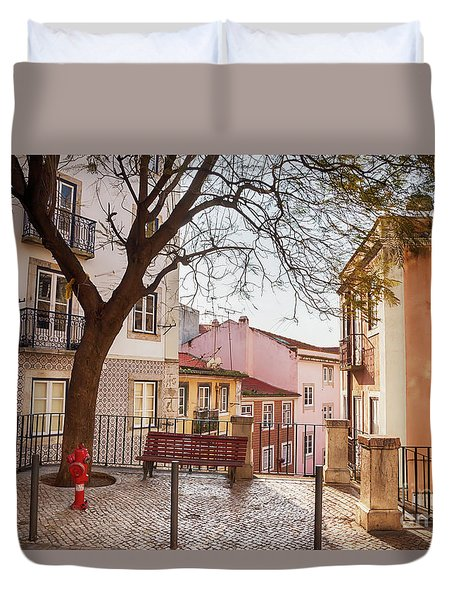 Duvet Cover featuring the photograph Lisbon's City Street by Ariadna De Raadt