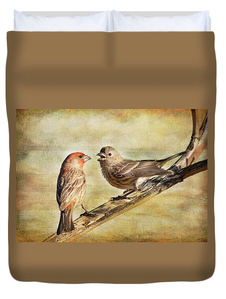 Duvet Cover featuring the photograph 2 Little Love Birds by Barbara Manis