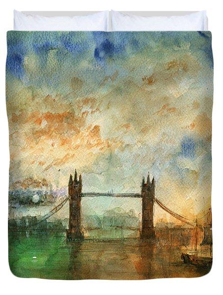 London Watercolor Painting Duvet Cover