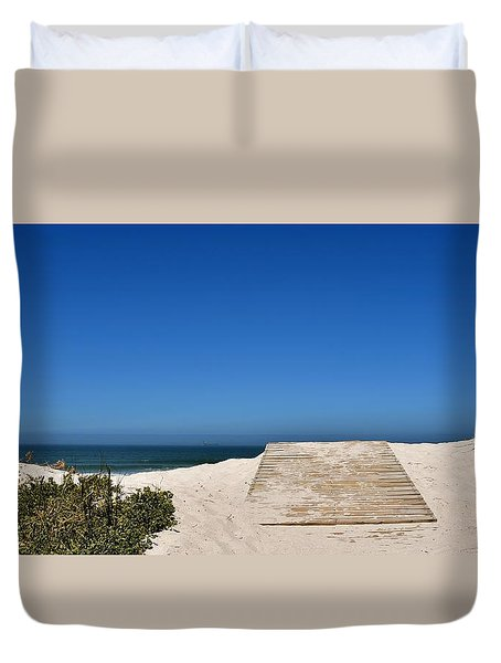 Duvet Cover featuring the photograph long awaited View by Werner Lehmann