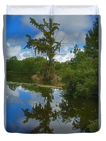 Louisiana  Bald Cypress Tree Duvet Cover by Ronald Olivier