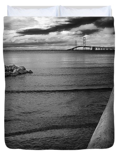 Mackinac Bridge - Infrared 01 Duvet Cover