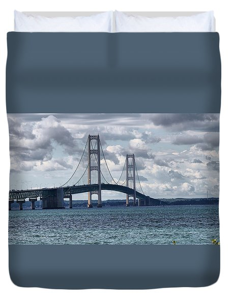 Mackinac Bridge  Duvet Cover by Farol Tomson