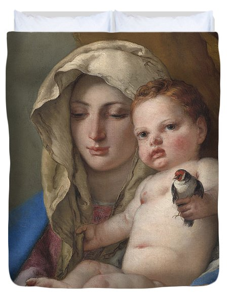 Madonna Of The Goldfinch Duvet Cover