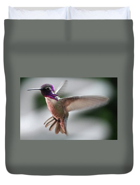 Male Anna's In Flight Duvet Cover