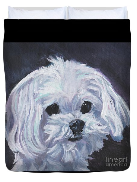 Duvet Cover featuring the painting Maltese by Lee Ann Shepard