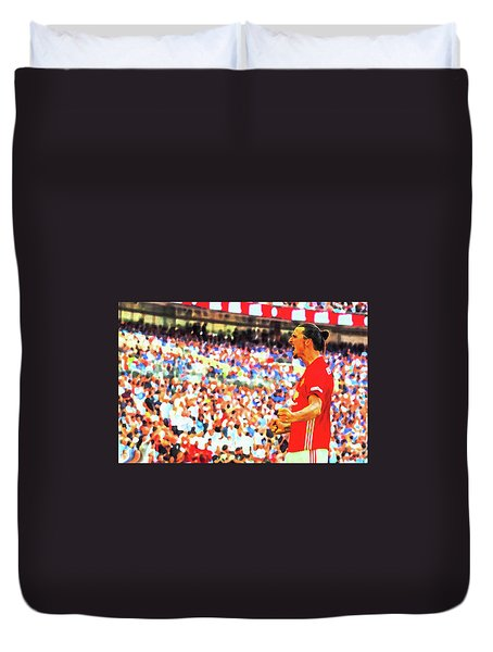 Manchester United's Zlatan Ibrahimovic Celebrates Duvet Cover by Don Kuing