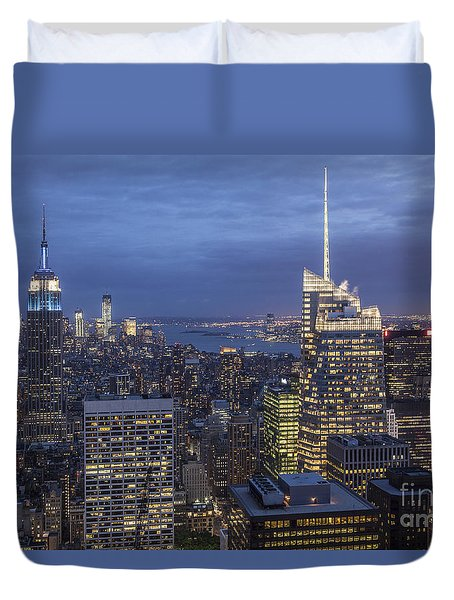 Duvet Cover featuring the photograph Manhattan Skyline New York by Juergen Held