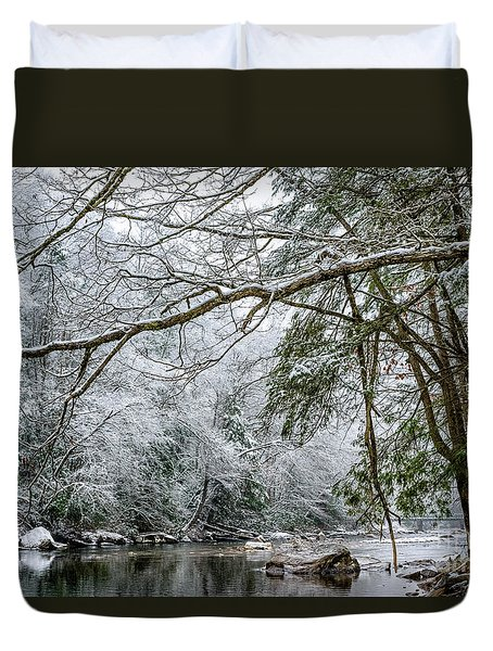 Duvet Cover featuring the photograph March Snow Along Cranberry River by Thomas R Fletcher