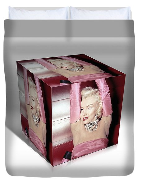 Marilyn Monroe Diamonds Are A Girls Best Friend Duvet Cover by Marvin Blaine