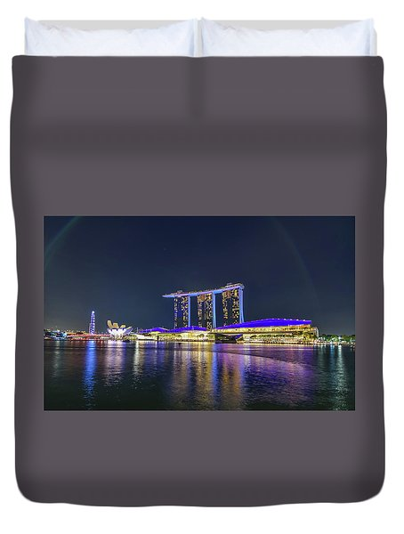 Marina Bay Sands And The Artscience Museum In Singapore Duvet Cover
