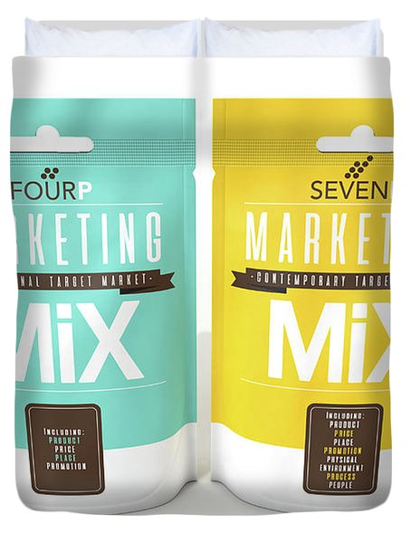 Marketing Mix 4 And 7 P's Duvet Cover