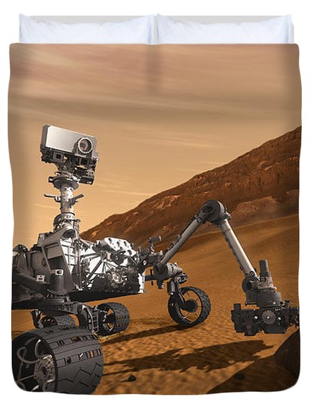 Mars Rover Curiosity, Artists Rendering Duvet Cover by NASA/Science Source