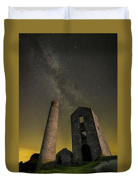 Milky Way Over Old Mine Buildings. Duvet Cover