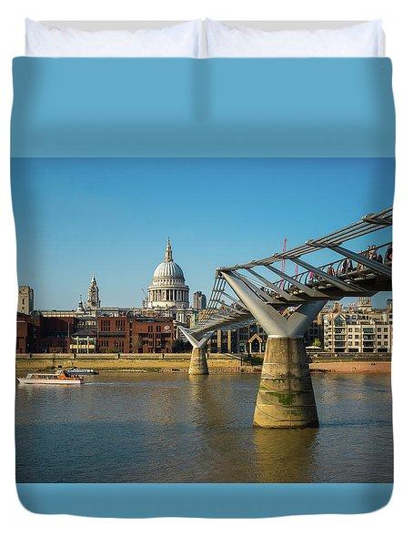 Duvet Cover featuring the photograph Millennium Bridge by Stewart Marsden