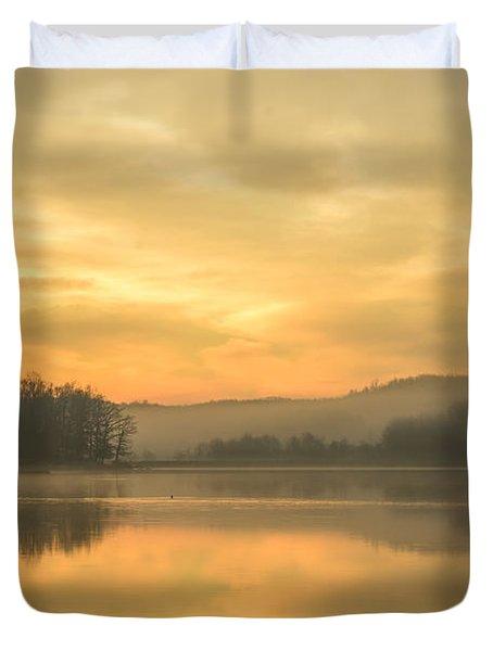 Misty Morning On The Lake Duvet Cover