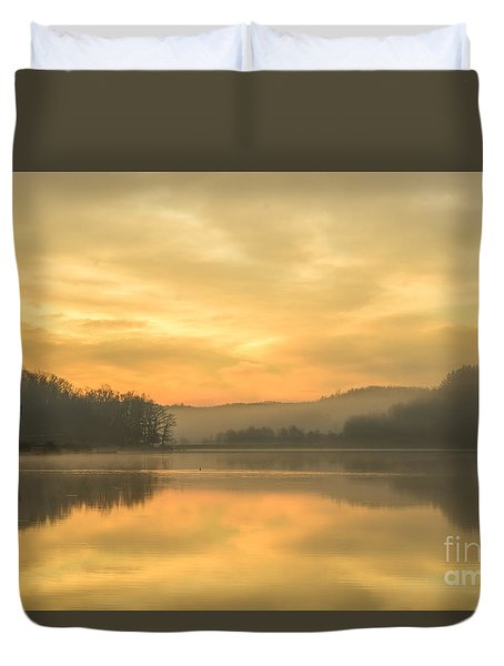 Misty Morning On The Lake Duvet Cover by Thomas R Fletcher