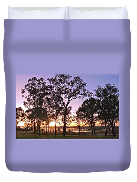 Misty Rural Scene With Dam And Trees Duvet Cover