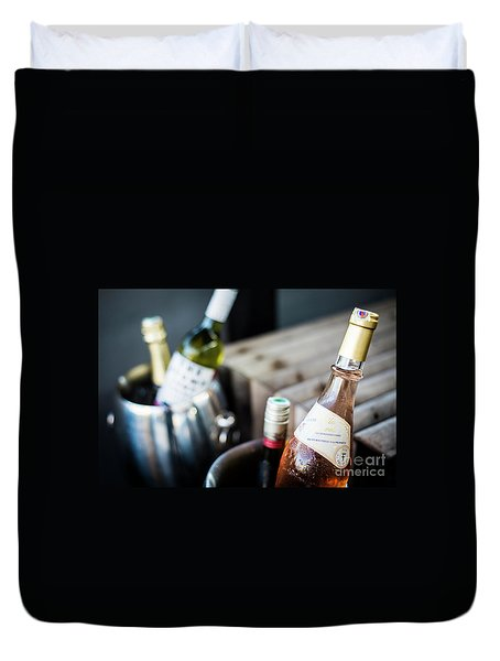 Mixed Bottles Of Gourmet Wine In Ice Chiller Bucket Duvet Cover