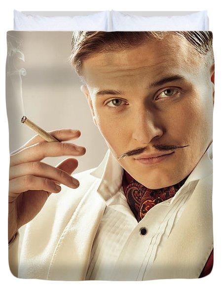 Model Playing Errol Flynn Character Duvet Cover