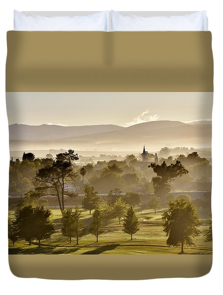 morning fog over Ceres Duvet Cover