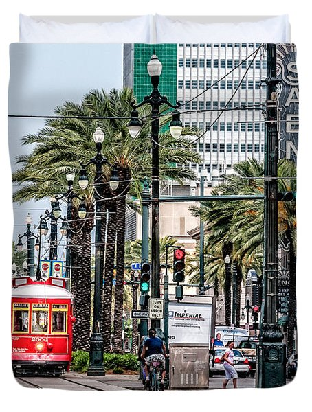New Orleans Canal Street Streetcars Duvet Cover