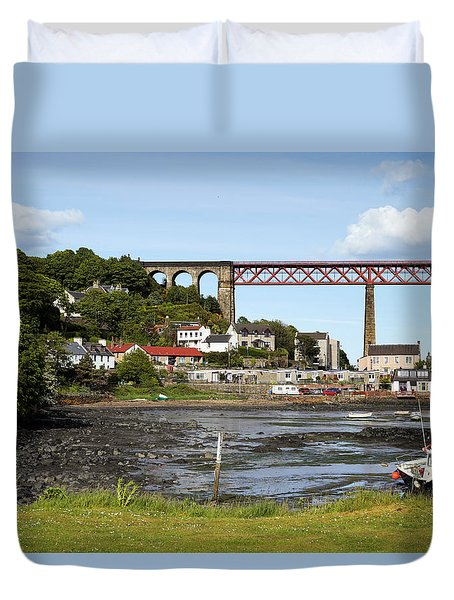 Duvet Cover featuring the photograph North Queensferry by Jeremy Lavender Photography