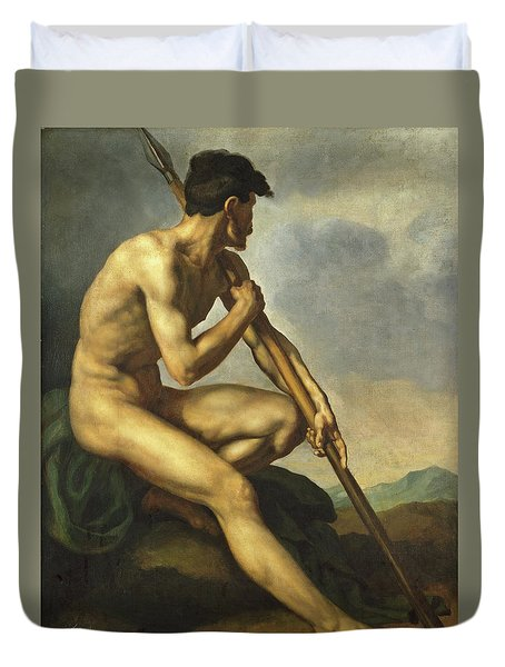 Nude Warrior With A Spear Duvet Cover