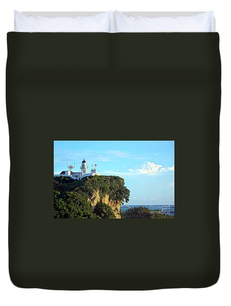 Duvet Cover featuring the photograph Old Lighthouse Overlooking Kaohsiung Harbor by Yali Shi