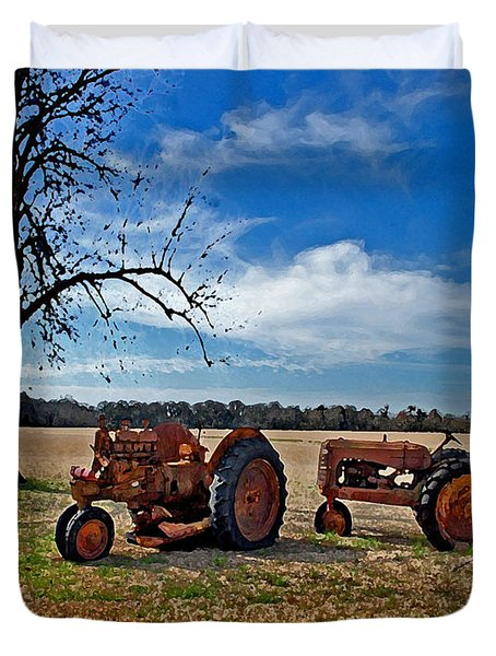 2 Old Tractors And The Tree Duvet Cover by Michael Thomas
