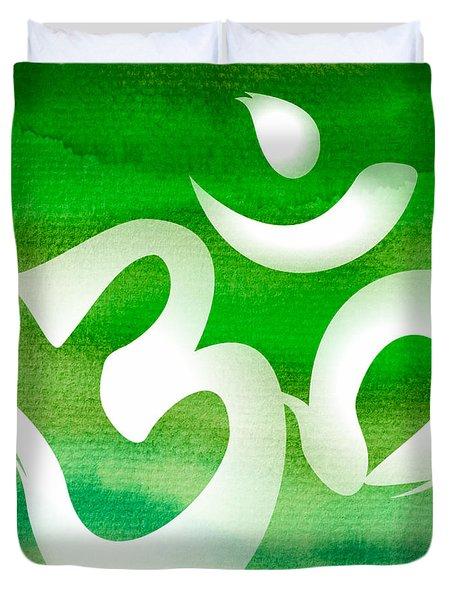 Om Symbol. Green Duvet Cover