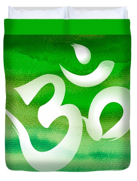 Om Symbol. Green Duvet Cover