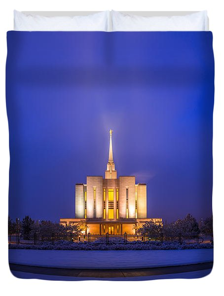 Duvet Cover featuring the photograph Oquirrh Mountain Temple by Dustin  LeFevre