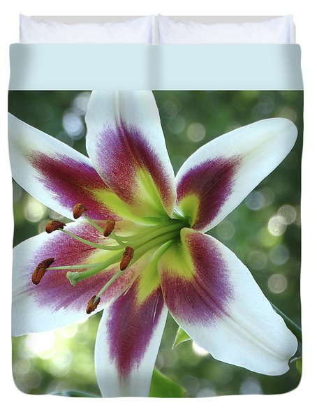 Oriental Lily Duvet Cover by Rebecca Overton