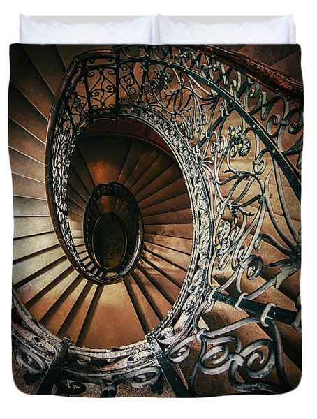 Duvet Cover featuring the photograph Ornamented Spiral Staircase by Jaroslaw Blaminsky