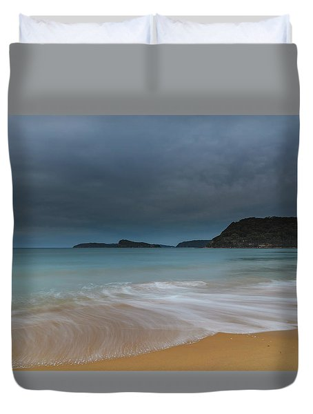 Overcast Cloudy Sunrise Seascape Duvet Cover