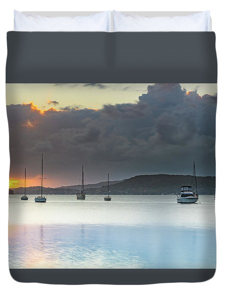Overcast Sunrise Waterscape Duvet Cover