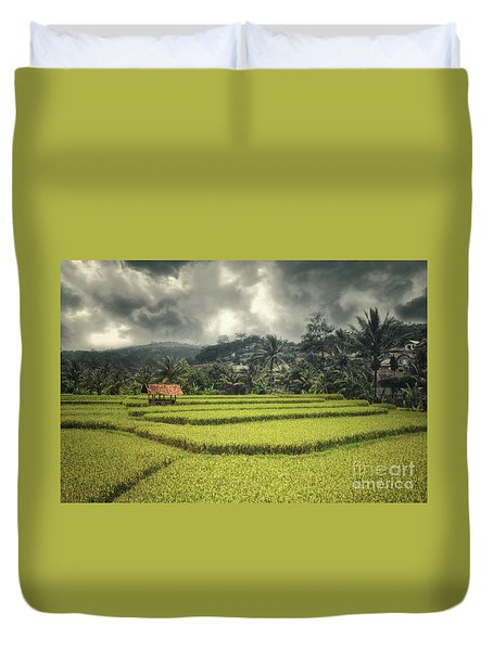 Duvet Cover featuring the photograph Paddy Field by Charuhas Images