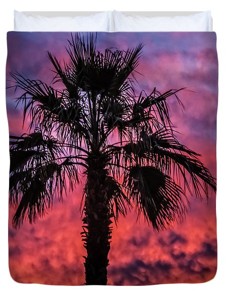 Duvet Cover featuring the photograph Palm Tree Silhouette by Robert Bales