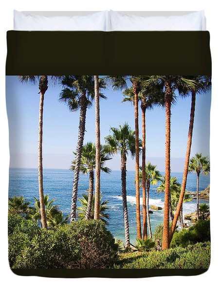 Palms And Seashore, California Coast Duvet Cover by Utah Images