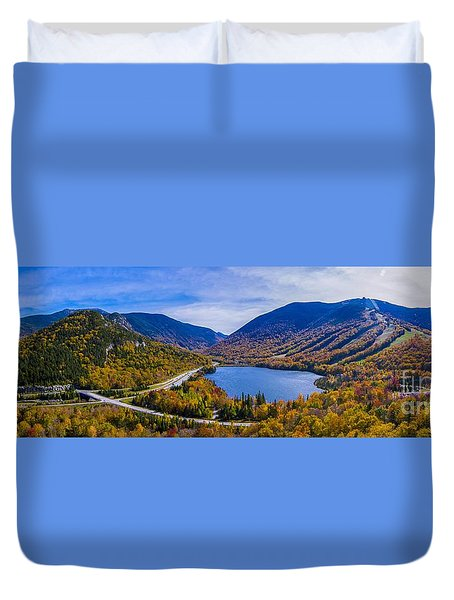 Panoramic View Of Franconia Notch. Duvet Cover