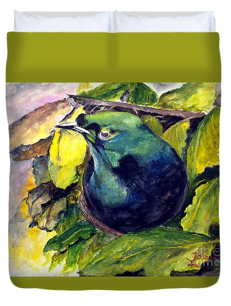 Duvet Cover featuring the painting Paradise Bird by Jason Sentuf
